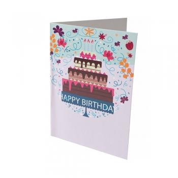 Открытка 104х80 Happy Birthday 4-х ярусный торт