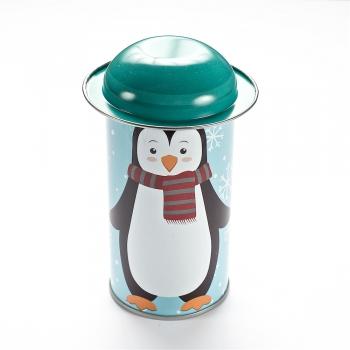 Коробочка жерстяна 11,6х5,4 см пінгвін з бірюзовою шапочкою
