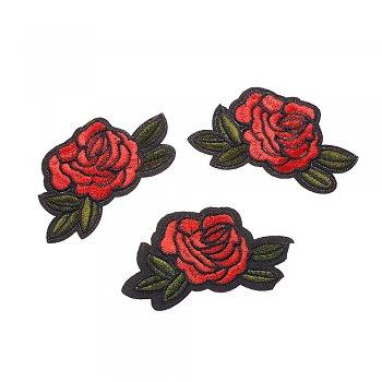 Тканевая нашивка Красная роза