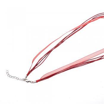 Основа для кулона Чотири бавовняні шнури і стрічка з органзи, бордова