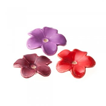 Бусина керамическая в форме цветка большая фиолетовая
