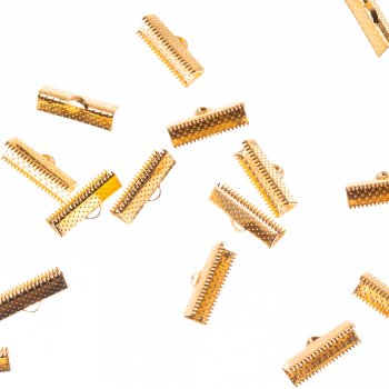 Затискачі для стрічок. Золотий. Довжина 6 мм, ширина 20 мм.