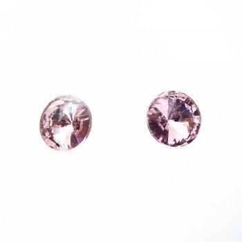 Стразы стеклянные вставные. Розовый. Диаметр 16 мм.