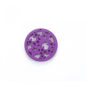 Дерев'яна підвіска Зірки Фіолетові