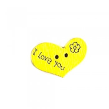 Гудзик дерев'яний Серце жовтий 14х21 мм