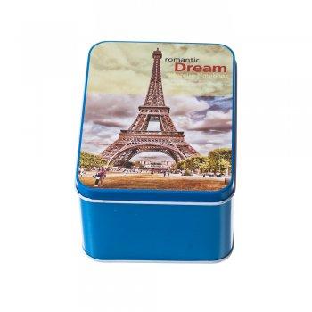 """Коробочка бляшана прямокутна """"Париж"""" 13х9,5х6,5см"""