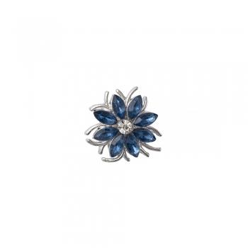 Бусина кнопка цветок 8-лепестковый синий