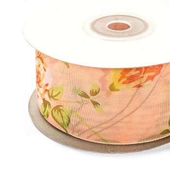 Стрічка з органзи 40 мм персикова з квіточкою