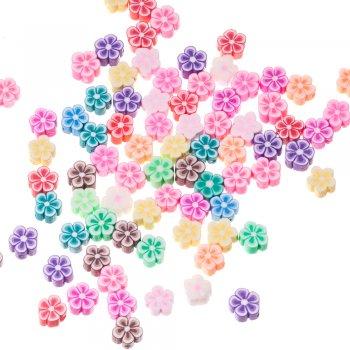 Бусина из полимерной глины Цветок неоново-зеленый