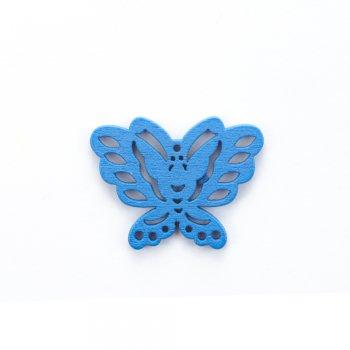 Деревянная подвеска Бабочка Синяя