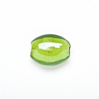 Скляна намистина з фольгованним покриттям, зелена, 20 мм