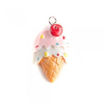 Підвіска морозиво з вишнею. полімерна глина, 28х16 мм