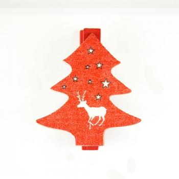 Прищіпка дерев'яна Ялинка червона