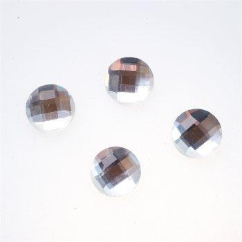 Стразы стеклянные клеевые. Прозрачный. Диаметр 14 мм.
