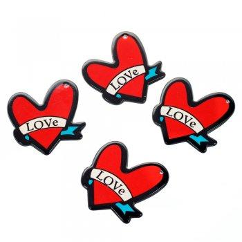 Сердце. Пластикова підвіска, червона, 30х40 мм