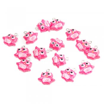 Сова розовая. Подвески из полимерной глины зверюшки