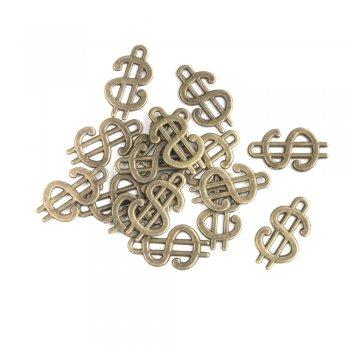 Доллар, металлическая литая подвеска, бронза, 20х12 мм