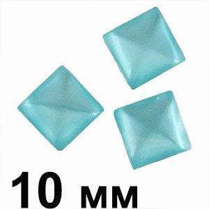 Пластикові кабошони синій квадрат очей 10 мм