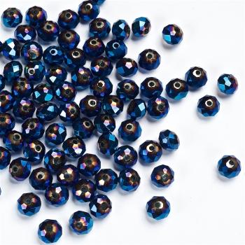 Хрустальная бусина рондель 8 мм синяя бензольная