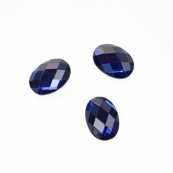 Стрази скляні клейові. Синій. Довжина 14 мм, ширина 10 мм.