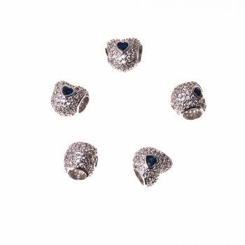 Металлическая бусина шарм LUX серебро сердца микс