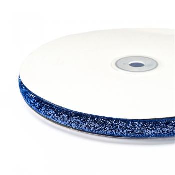 Лента бархатная 10 мм синяя с люрексом