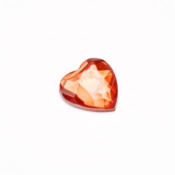 Стрази клейові пластикові в формі серця 12х12 червоні уп. 15шт