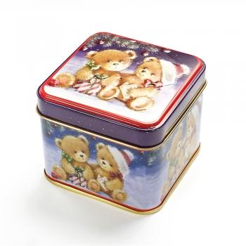 Коробочка жестяная 7,5х7,5х6,5 см Мишки с подарками