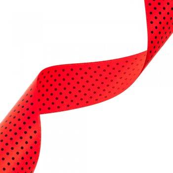 Атласная лента с узором 40 мм красная