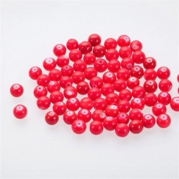 Бусина стеклянная 10 мм малиново-красная