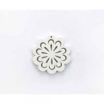 Деревянная подвеска Цветок ажурный Белый