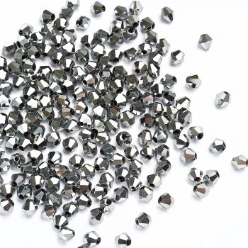 Хрустальная бусина биконус 6 мм серебристая металлик