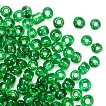 Бісер круглий великий темно-зелений прозорий 3.6 мм