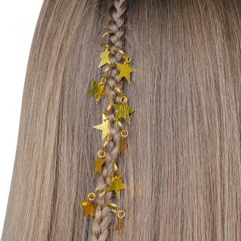 Пирсинг для волос Золотая звезда набор 10 шт