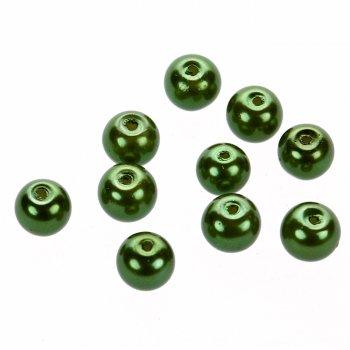 Жемчуг стеклянный гладкий зелёный
