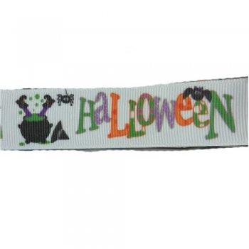 Лента репсовая с узором 25 мм Halloween