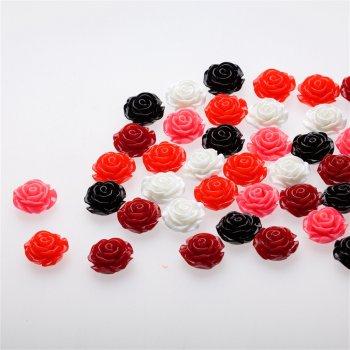 Пластикова намистина троянда, мікс кольорів, 20 мм