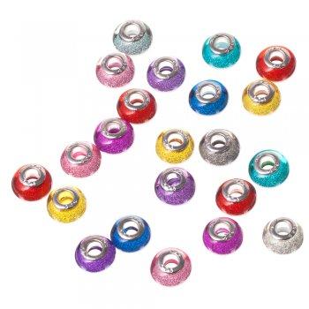 """Пластикова намистина """"шарм"""", мікс кольорів, 11 мм"""
