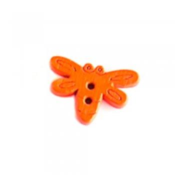 Мотылек большой, пуговица деревянная, оранжевая, 15х20 мм