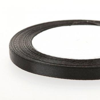 Атласна стрічка. Чорний. 7 мм.