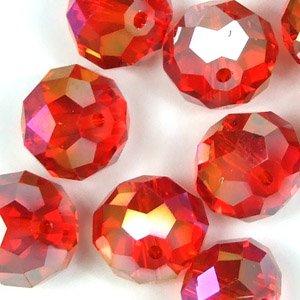 Кришталева намистина кругла 14 мм червона райдужна