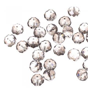 Бусина круглая сплюснутая, прозрачная с серым оттенком, хрусталь, 14 мм