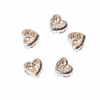 Металева намистина шарм LUX серце золотий візерунок
