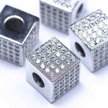 "Метал. бусина""шарм"" LUX ""Сверкающий куб"""