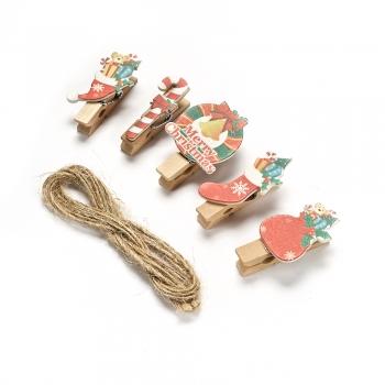 Прищіпки дерев'яні (уп10шт) новорічні