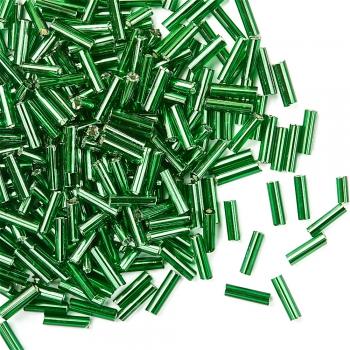 Бісер стеклярус. Зелений. 6 мм.