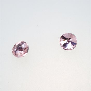 Стразы стеклянные вставные. Розовый. Диаметр 10 мм.