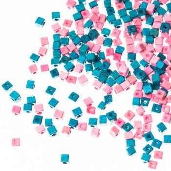 Деревянные бусины микс цветов голубой розовый
