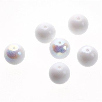 Чеські скляні намистини білі 12 мм