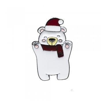 """Значки Піни металеві """"Білий ведмедик"""""""